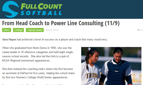 Sara Hayes featured in Full Count Softball